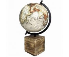 Grande et Jolie Mappemonde Globe Terrestre Décoratif Rotatif Planisphère sur Pied Carré Carte Ronde 21x21x36cm - Objet à poser