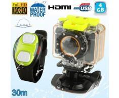 Mini caméra sport caisson bracelet télécommande waterproof 30m HD 4 Go - Caméscope à carte mémoire