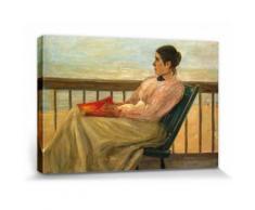 Max Liebermann Poster Reproduction Sur Toile, Tendue Sur Châssis - Martha Liebermann, La Femme De l'Artiste À La Plage, 1895 (80x120 cm) - Décoration murale