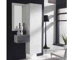 Vestiaire d'entrée moderne blanc et couleur bois gris SEGURA - L 104 x P 30 x H 200 cm - Vestiaires