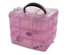 Boîte de rangement bijoux avec poignée pour perles et scrapbooking acrylique rose - Objet à poser