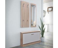 Vestiaire d'entrée 3 éléments en bois Blanc et aspect chêne - Étagère