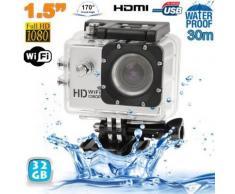 Caméra sport WiFi embarquée plongée caisson 12MP 1080P Argent 32Go - Caméscope à carte mémoire