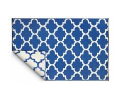Fabhabitat - Tapis intérieur extérieur Tangier bleu et blanc 150 x 90 cm - Tapis et paillasson