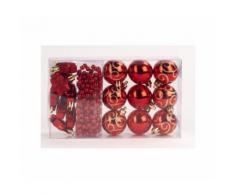 Kit de 14 suspensions de noel en pvc - boules, etoiles et guirlande - oe 4 / 2,70 cm - rouge - Objet à poser
