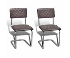 2 Chaises de cuisine salon salle à manger classique marron - Chaise