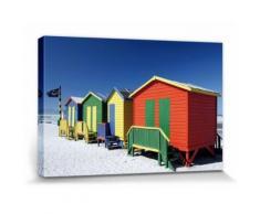 Plages Poster Reproduction Sur Toile, Tendue Sur Châssis - Cabines De Plage Colorés En Afrique Du Sud (20x30 cm) - Décoration murale