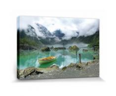 Lacs Poster Reproduction Sur Toile, Tendue Sur Châssis - Barque Au Lac De Montagne En Norvège (30x20 cm) - Décoration murale
