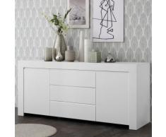 Buffet enfilade 210 cm design blanc laqué ALANO - L 184 x P 43 x H 86 cm - Buffets