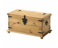 Coffre malle de rangement pin massif style mexicain finition cirée - Tables basses
