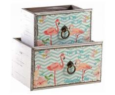 Aubry Gaspard - Corbeille tiroir en bois flamants roses (Lot de 2) - Boite de rangement