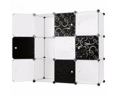 Cubes/étagère de rangement modulables plastiques cadre en métal blanc et noir - Boite de rangement