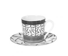 Table Passion - Tasse - Sous/Tasse Cafe 12 Cl Porcelaine Decor Madras Gris ( Lot De 6 ) - Petit-déjeuner