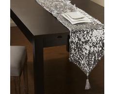 chemin de table en polyester à paillettes argent - linge de table et décoration