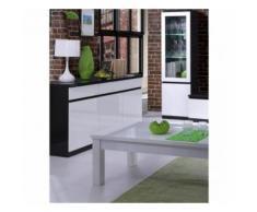 Buffet, bahut, enfilade 3 portes et 3 tiroirs FABIO. Noir et blanc laqué high gloss - Buffets