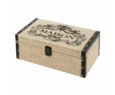 Coffre Boîte de Rangement Bois Toile de Jute 30x19.50x11.50 cm - Coffres