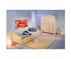 Armoire penderie dressing rangement chambre vintage 3 portes bois massif NATUREL - Armoire