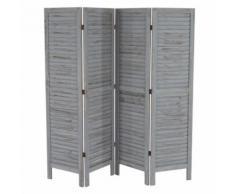 Paravent /séparation bois, 4 pans, 182x2x170cm, shabby, vintage, gris - Objet à poser
