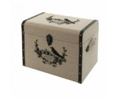 Coffre Malle Boîte de Rangement Bois Toile de Jute 40x28x32 cm - Coffres