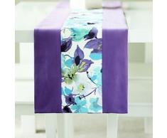 Chemin de table à motif floral en coton et polyester violet - linge de table et décoration