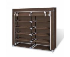 Armoires chaussure étagère meuble 30 paires tissu marron - Armoire