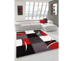 DIAMOND Tapis de salon 80x150 cm rouge, gris, noir et blanc - Tapis et paillasson