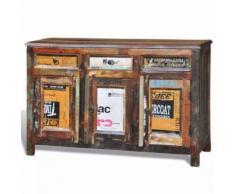 Meelady Cabinet Vintage Multicolore 3 Tiroirs 3 Portes - Tables de chevet