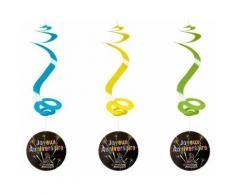 Lot de 4 suspensions spirale joyeux anniversaire - 60 cm - Objet à poser
