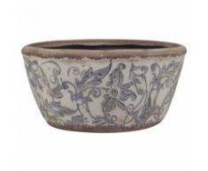 L'Héritier Du Temps - Jardinière ronde ou cache pot décoratif de jardin bac à fleurs plantes en terre cuite emaillée blanche motif bleu 11x21x21cm - Objet à poser