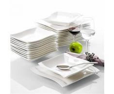 Malacasa Série Flora 18pcs Service de Table Service à Café Thé 6 Tasses, 6 Soucoupes, 6 Assiette à Dessert Porcelaine pour 6 Personnes - Cuisine