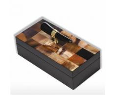 Tooarts Boîte à bijoux avec corne rayures bijoux en bois rectangulaire affichage bague collier boîte de rangement cadeaux d'anniversaire pour les femmes Black Velvet - Objet à poser