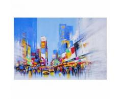 Tableau peinture à huile, Times Square, peint à la main à 100%, toile de décoration murale XL ~ 120x80cm - Décoration murale