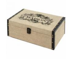 Coffre Boîte de Rangement Bois Toile de Jute 34x24x13.50 cm - Coffres