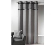 Rideau à oeillets tamisant 100% coton parement plissé gris 135x260cm RELIEF - Rideaux et stores