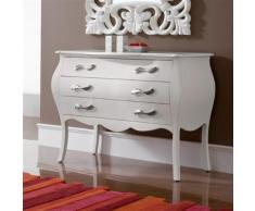 Commode baroque blanche laquée 3 tiroirs ETNA - L 117 x P 55 x H 85 cm - Commodes