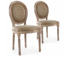 Lot de 2 chaises de style médaillon Louis XVI Bois patiné & simili taupe - Chaise