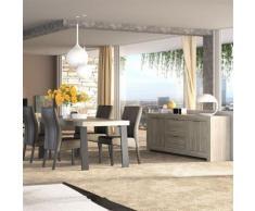 Nouvomeuble - Salle à manger complète moderne couleur chêne gris sofia - Tables salle à manger