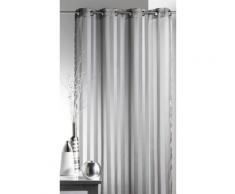 Voilage à oeillets 100% polyester rayures tissées BRUNELLE - Gris - 140x250cm - Rideaux et stores