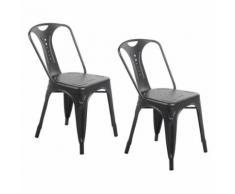 Zons Lot De 2 Chaises Industrielles Retro Empilable Noir Mat 42X47Xh78Cm - Chaise