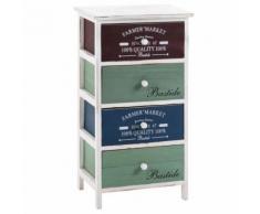 Commode COLORIS chiffonnier 4 tiroirs colorés en bois de paulownia style shabby chic vintage rustique rétro blanc - Commodes