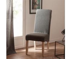 Housse de chaise uni bi-extensible coton/polyester gris - lot de 2 LISA - Textile séjour