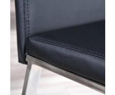 Chaise haute salle a manger cuisine séjour moderne design chrom cuir NOIRE - Chaise
