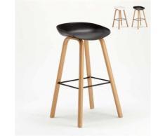 Tabouret chaise haut pour café et cuisine effet bois TOWERWOOD, Couleur: Noir - Tabourets