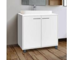 Meuble sous lavabo blanc pour vasque de salle de bain - Accessoires salles de bain et WC