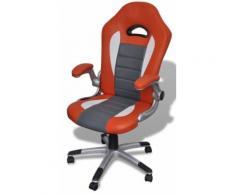 Fauteuil de bureau sport cuir orange/gris 0502008 - Sièges et fauteuils de bureau