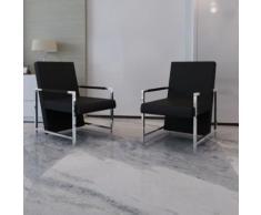 Meelady 2 pcs Chaise de Salon avec Cadre Chromé en Cuir Synthétique pour Salon, Salle à Manger Noir / Blanc - Chaise