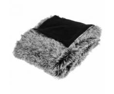 Plaid couvre lit à poils longs - doux et epais - noir et gris - Linge de lit