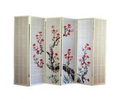 Paravent en bois avec fleur de cerisier blanc de 6 pans -PEGANE- - Objet à poser