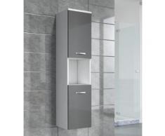 Armoire de rangement de Montreal Hauteur : 131 cm Gris brillant - Meuble de rangement haut placard meuble de salle de bain - Installations salles de bain