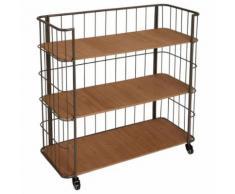 Etagère meuble de rangement 3 étages sur roulettes - GRIS vieilli - Étagère